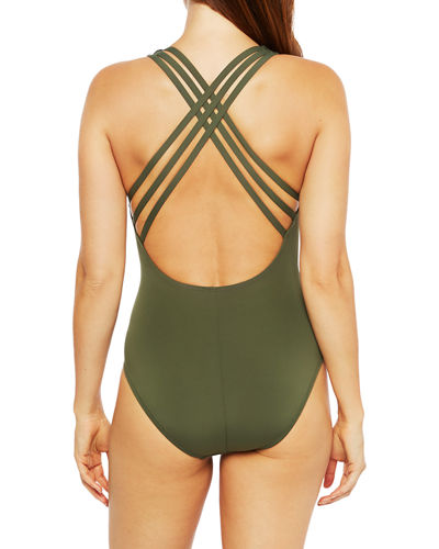 La Blanca Mio Multi-Strap Cross-Back One-Piece Swimsuit
