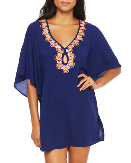 Trina Turk Rainbow Swirl Embroidered Coverup Tunic
