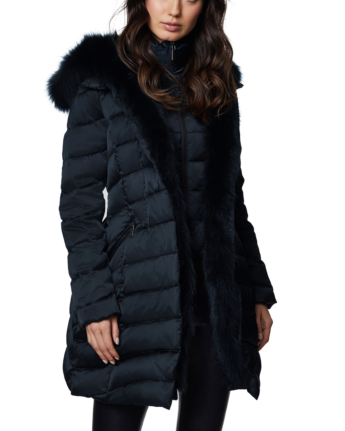 Dawn Levy JET SETTER FOX FUR-TRIM FITTED PUFFER JACKET