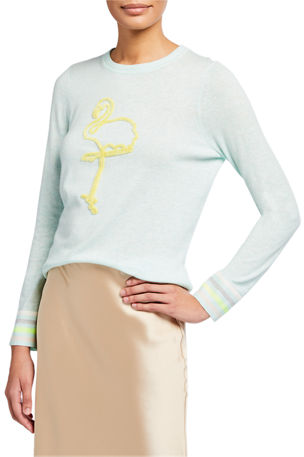 Lisa Todd Petite Flamingo Striped-Cuff Cotton-Blend Sweater