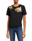 Natori Embroidered Short-Sleeve Tee