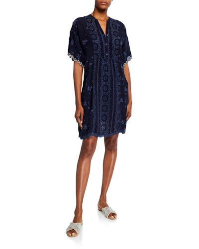 Riza Elbow-Sleeve Embroidered Shift Dress
