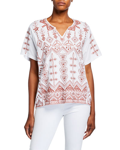 Eyal Short-Sleeve Embroidered Boxy Tee