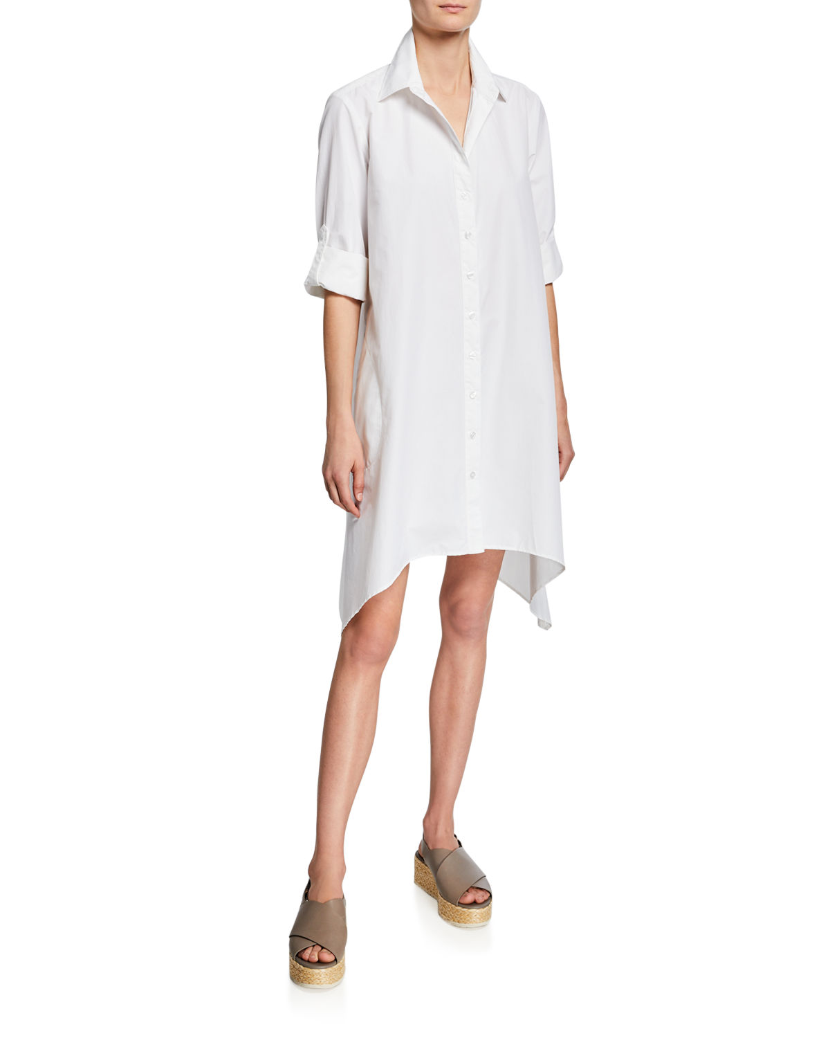 Finley BRUNO BUTTON-FRONT LONG-SLEEVE UNEVEN-HEM SHIRTDRESS