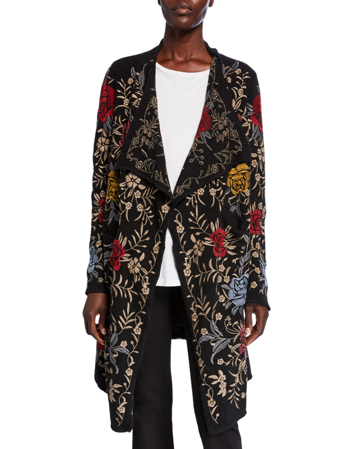 Johnny Was Knits PUA EMBROIDERED KNIT CARDIGAN