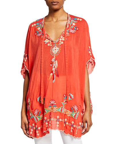Petite Dakota Embroidered Tie-Neck Poncho Top