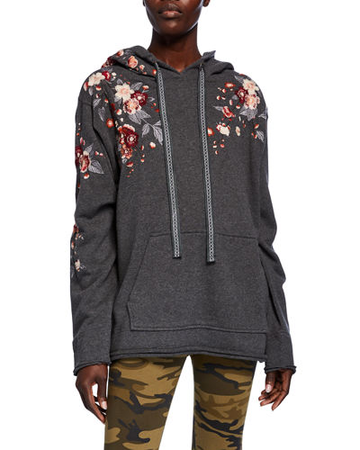 Kira Camo French-Terry Hoodie Pullover w/ Floral Embroidery