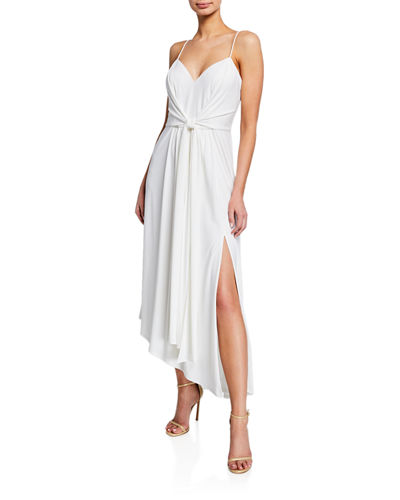 V-Neck Spaghetti-Strap Asymmetric Dress w/ Tie-Front Straps