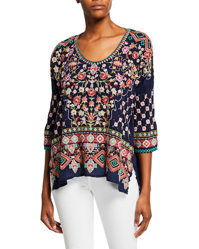 Johnny Was Plus Size Sandra Embroidered Dolman-Sleeve Georgette Top