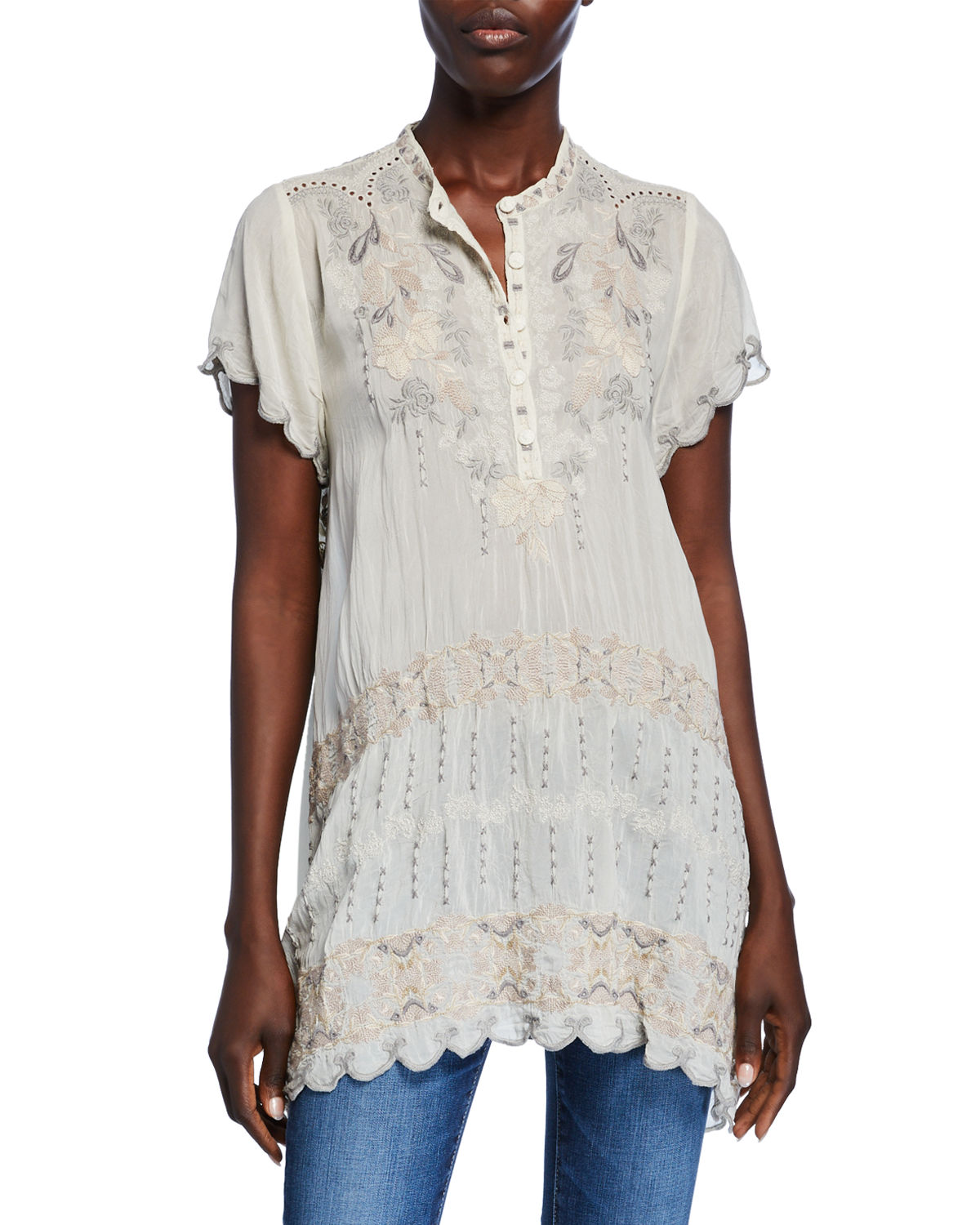 Johnny Was Shorts FLETCHER EMBROIDERED SHORT-SLEEVE BUTTON-FRONT SCALLOP-EDGE TUNIC