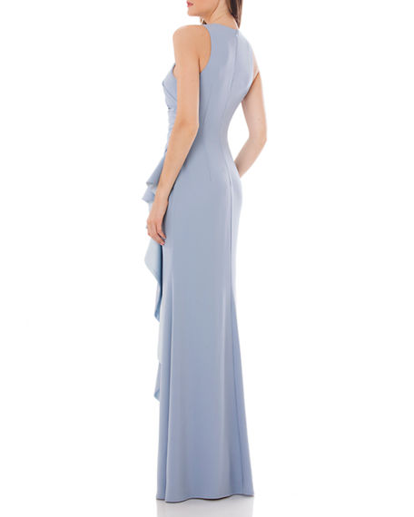 Image 2 of 3: Carmen Marc Valvo Infusion Crepe Halter Gown with Side Ruffle