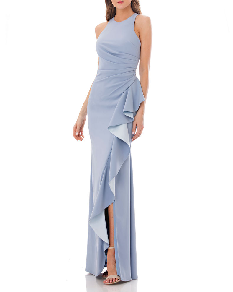 Carmen Marc Valvo Infusion Crepe Halter Gown with Side Ruffle