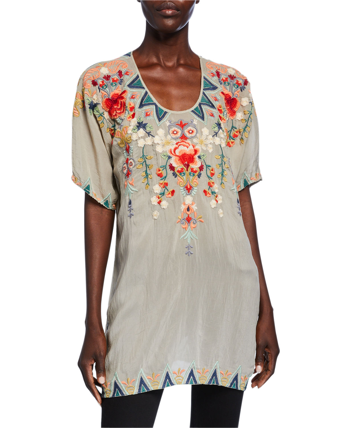 Johnny Was Shorts TAMAYA EMBROIDERED SCOOP-NECK SHORT-SLEEVE TUNIC