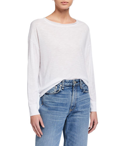 Boat-Neck Cotton Pullover Sweater