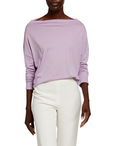 Mock-Neck Long-Sleeve Cotton Pullover