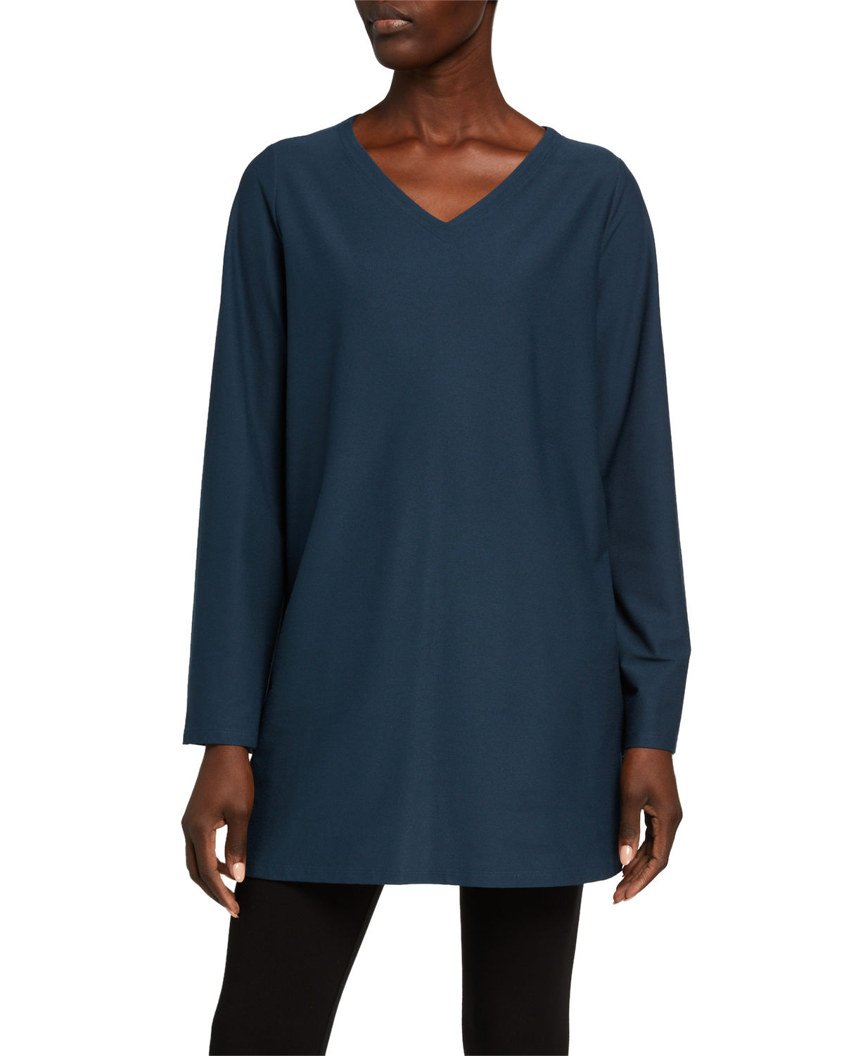EILEEN FISHER PETITE V-NECK STRETCH CREPE SIDE SLIT TUNIC