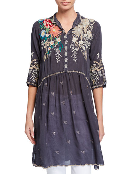 Plus Size Azzy Embroidered Long Tunic Dress
