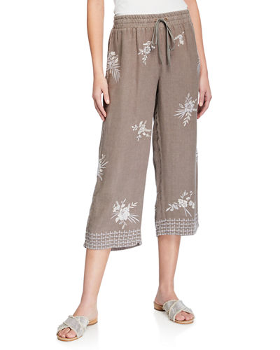 Oleander Floral Embroidered Cropped Heavy linen Pants