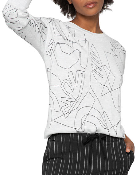 Image 1 of 5: NIC+ZOE Embroidered Long-Sleeve Sweater