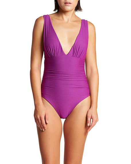 LeSwim Athena Ruched Tricot One-Piece Swimsuit