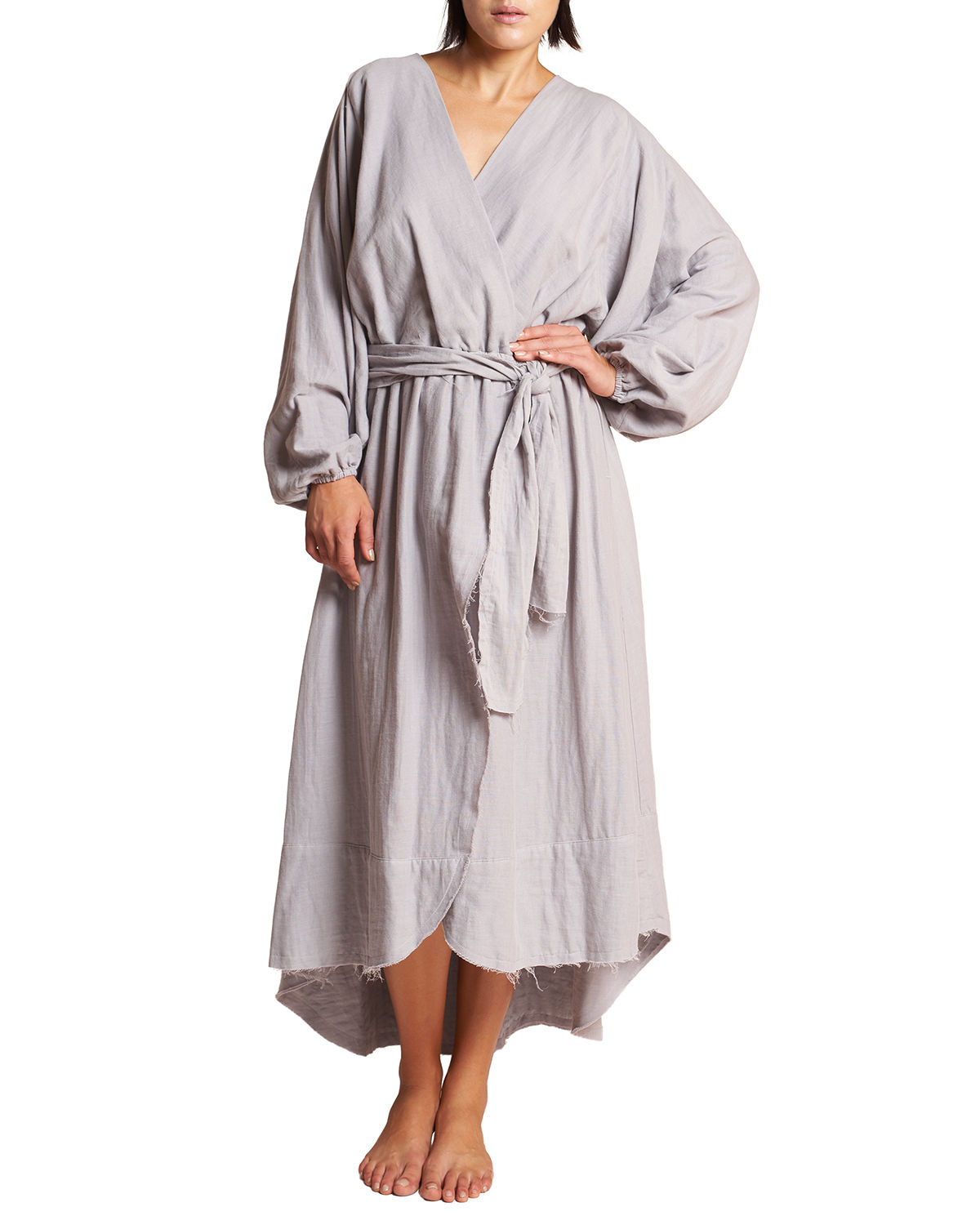 Conchas Long-Sleeve Belted Coverup Wrap Dress