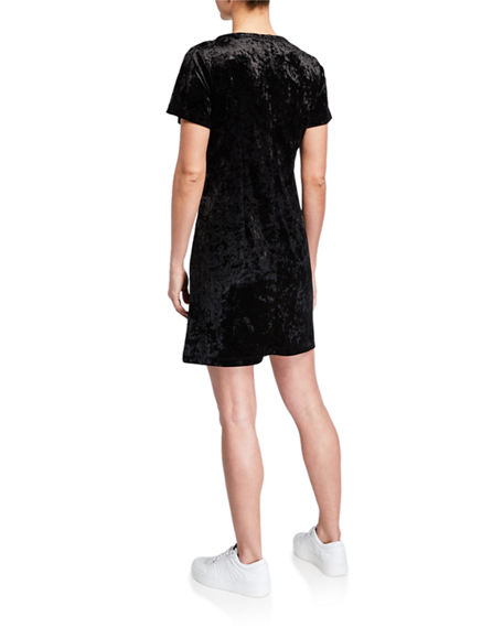 Melissa Masse Crushed Velvet T-Shirt Dress
