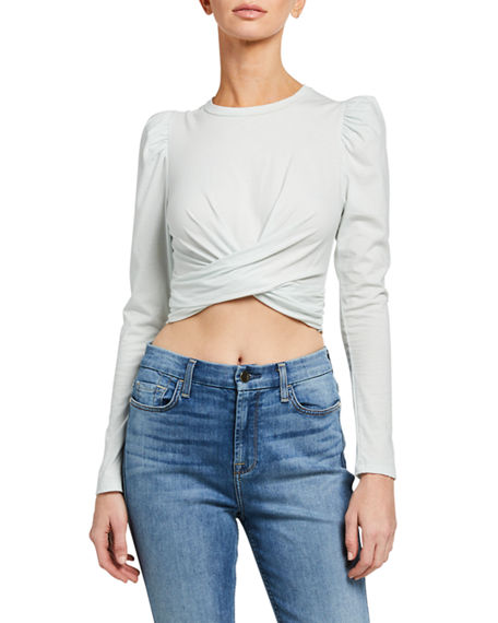 A.L.C. Mandy Twisted Long-Sleeve Crop Tee
