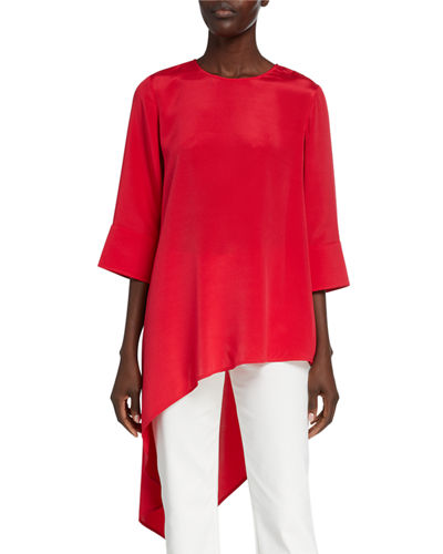 St. John Collection Silk Crepe de Chine Asymmetric Top