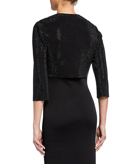 Image 2 of 2: St. John Collection Sequined Knit 3/4-Sleeve Crop Jacket