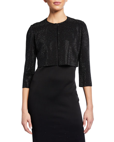 Image 1 of 2: St. John Collection Sequined Knit 3/4-Sleeve Crop Jacket