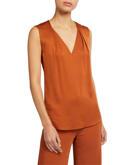 Image 1 of 3: Kobi Halperin Raquel V-Neck Sleeveless Blouse