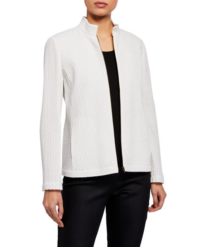 Honeycomb Stand Collar Zip-Front Jacket