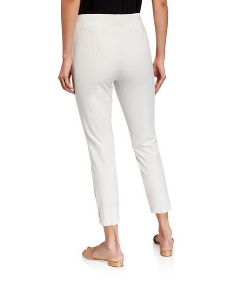 Image 2 of 3: Eileen Fisher Stretch Crepe Slim Cropped Pants w/ Side Slits