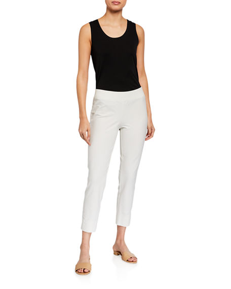 Image 3 of 3: Eileen Fisher Stretch Crepe Slim Cropped Pants w/ Side Slits