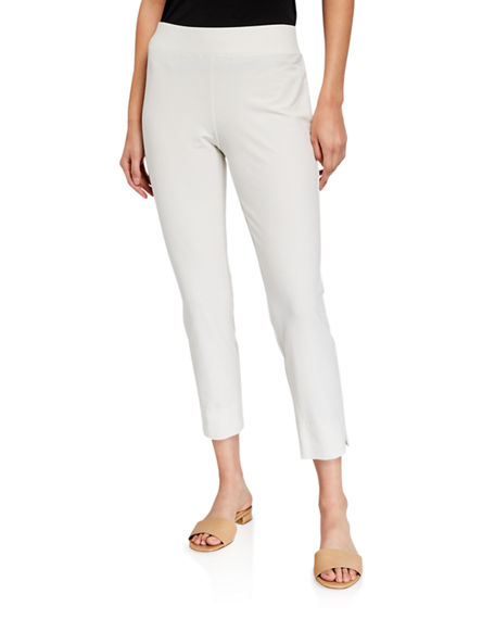 Image 1 of 3: Eileen Fisher Stretch Crepe Slim Cropped Pants w/ Side Slits