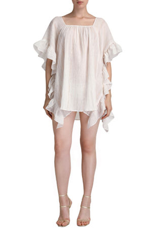 Flora Bella Sequin Shimmer Caftan with Ruffle Accent