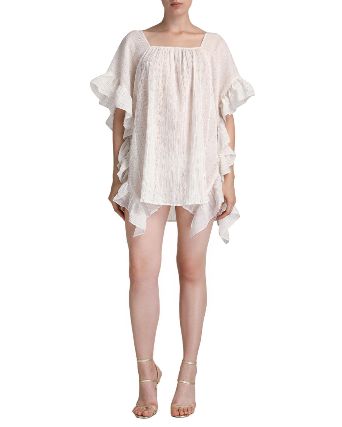 Sequin Shimmer Caftan with Ruffle Accent