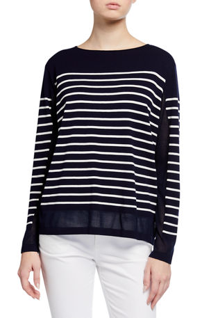 Lafayette 148 New York Striped Matte Crepe Bateau-Neck Sweater