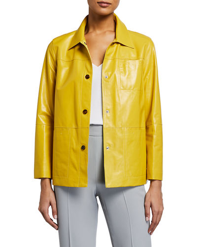 Wellesley Lacquered Lambskin Button-Front Jacket