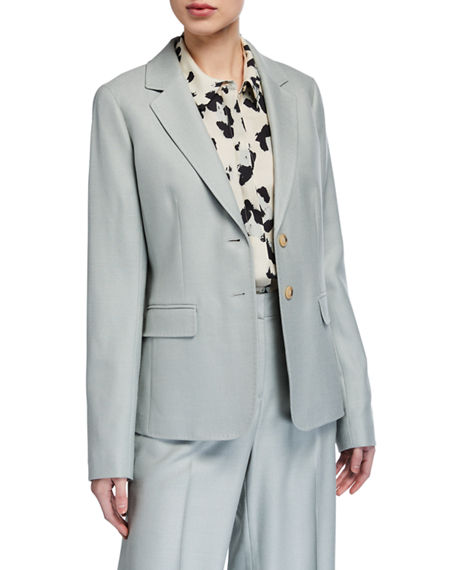 Lafayette 148 New York Thatcher Studio Weave Two-Button Blazer