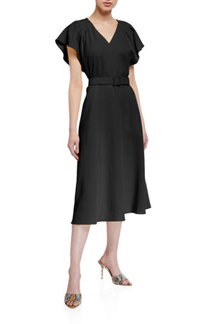 Lafayette 148 New York Flutter-Sleeve Belted Finesse Crepe A-Line Dress