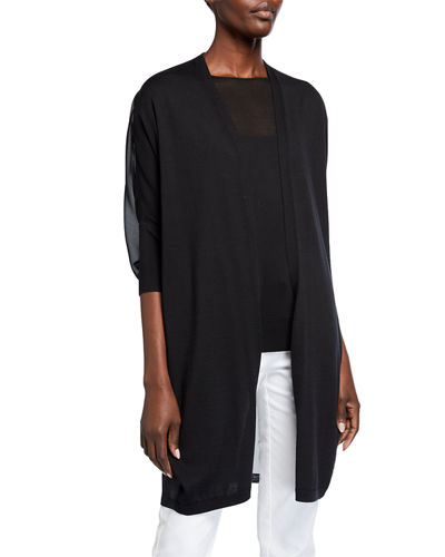 Lafayette 148 New York Open-Front Cotton-Silk Combo Cardigan