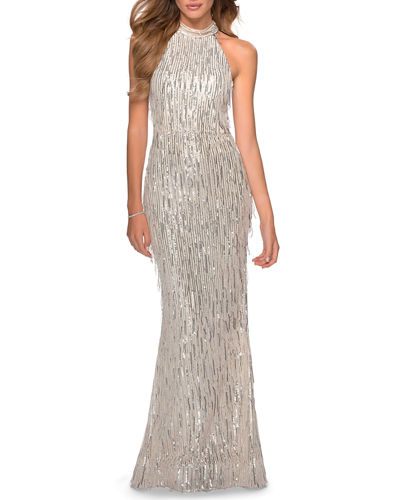 Fringe Sequin Halter Gown with Lace-Up Open Back