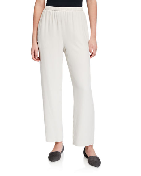 Eileen Fisher Petite Straight-Leg Silk Georgette Crepe Ankle Pants