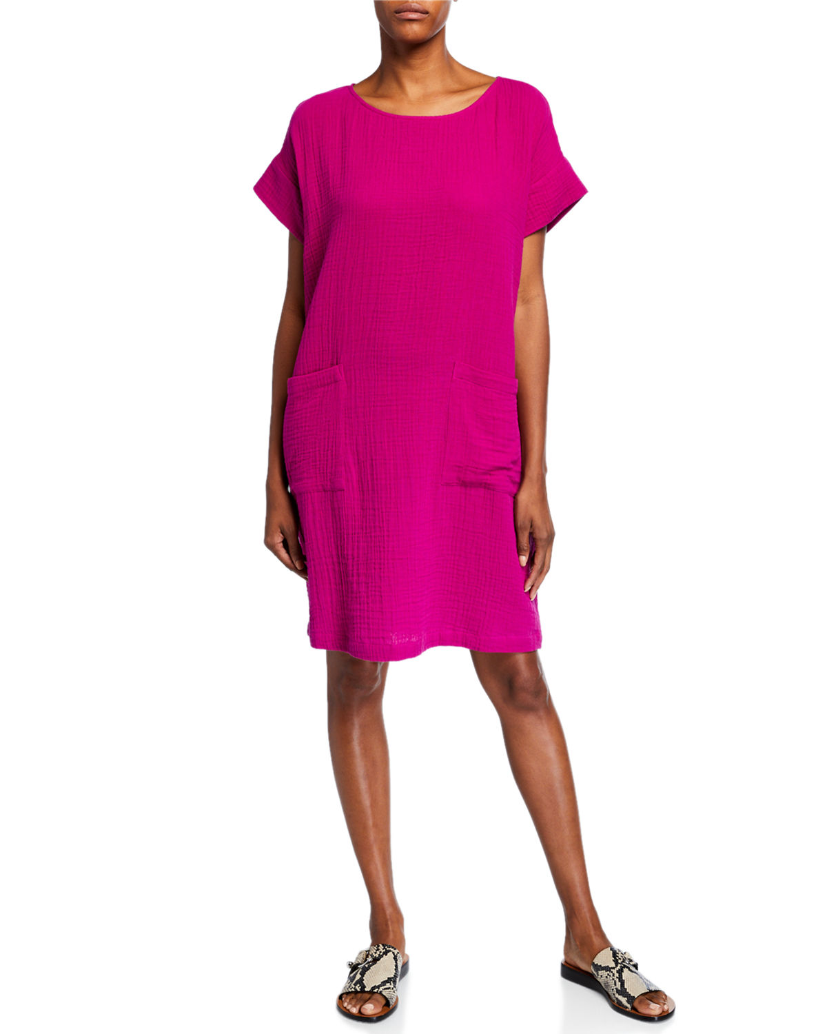 Eileen Fisher Dresses ORGANIC COTTON SHORT-SLEEVE GAUZE DRESS