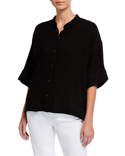 Eileen Fisher Mandarin-Collar Elbow-Sleeve Organic Cotton Gauze Shirt