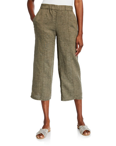 Organic Washed Linen Wide-Leg Cropped Pull-On Pants
