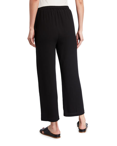 Image 3 of 4: Eileen Fisher Plus Size Straight-Leg Silk Georgette Crepe Ankle Pants