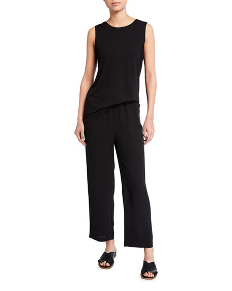 Image 4 of 4: Eileen Fisher Plus Size Straight-Leg Silk Georgette Crepe Ankle Pants