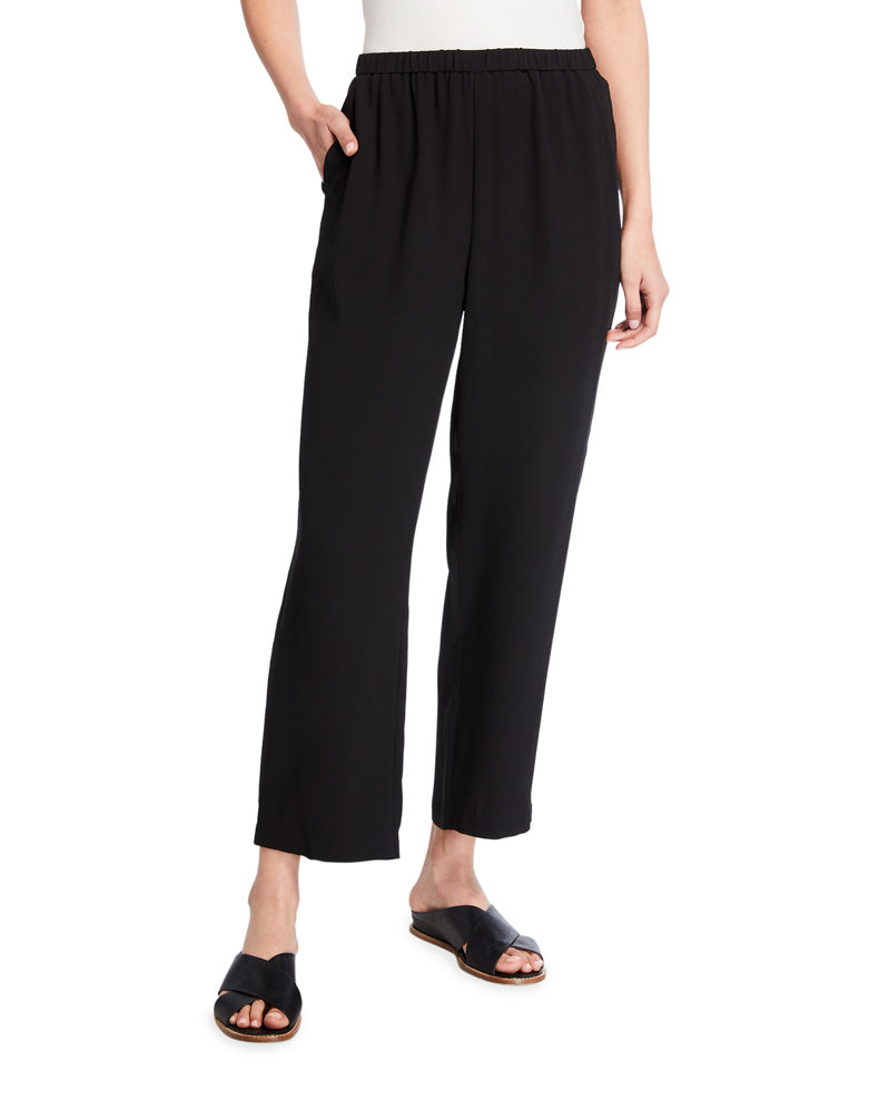 Eileen Fisher Plus Size Straight-Leg Silk Georgette Crepe Ankle Pants
